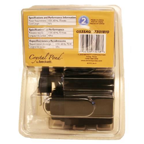 Beckett 535 gph versa gold series 16ft cord for Small pond pump filter combo